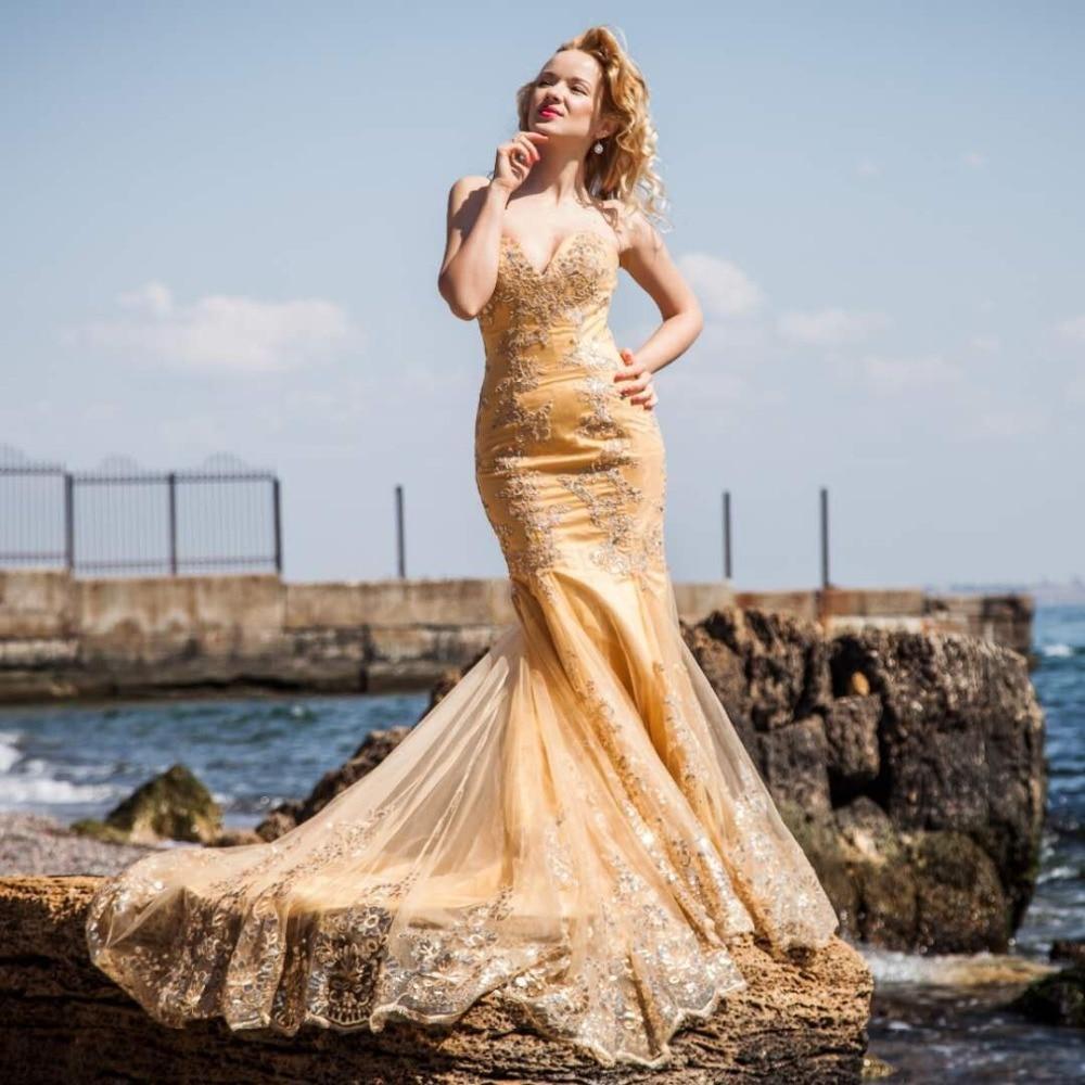 Off the Shoulder Long Dress Plus Size Mermaid Evening Dress 2019 Glod Lace Appliques Formal Dress