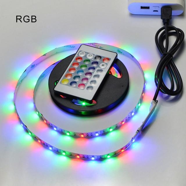 DC 5V USB cable LED strip light Warm white 2835 3528 SMD 1M 2M 3M 4M 5M RGB remote control for PC Desktop Flat Screen HDTV lamp