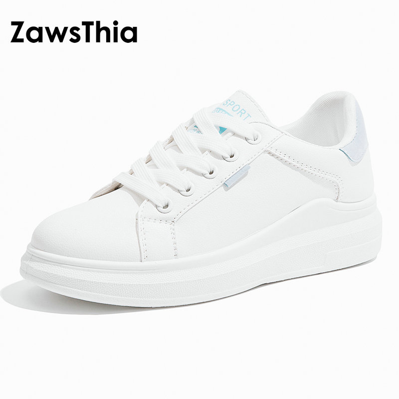 ZawsThia Women Casual Shoes Flat 2018 Autumn PU Leather Women Shoes Fashion Lovely Lace-Up Women Breathable White Women Sneakers цены