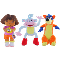 3pcs Set 25cm Lovely Genuine Love Adventure Of Dora Monkey Boots Swiper Dolls Plush Animals Children