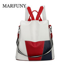 Fashion Anti-theft Women Backpacks Patchwork Ladies Large Capacity Backpack High Quality Waterproof PU Leather Women Backpacks