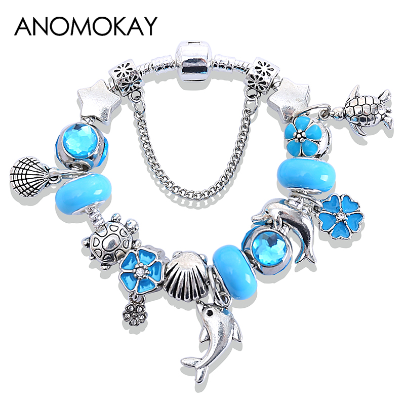 Blue Ocean Style Dolphin Tortle DIY Bead Pan Bracelet Silver Color Lovely Animal Bead Bracelets & Bangles Pulseras Gift