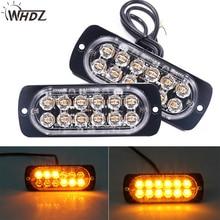 WHDZ 1Pcs/Pair 12LED 36W Amber Light Emergency Warning Strobe Flashing Yellow Bar Car Truck Trailer Side marker strobe lights