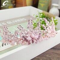 Tuyệt đẹp Pha Lê Công Chúa Tiara Bridal Tóc Vương Miện Phụ Kiện ánh sáng màu xanh Wedding Mũ Sắt Phụ Nữ Peageant Prom Tiaras headband