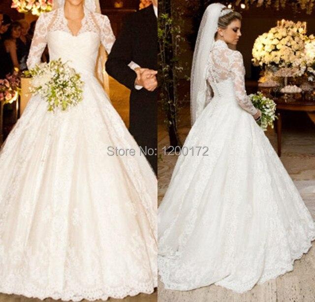 vestidos de noiva Real Wedding Dresses Ball Gown Long Sleeve Wedding ...
