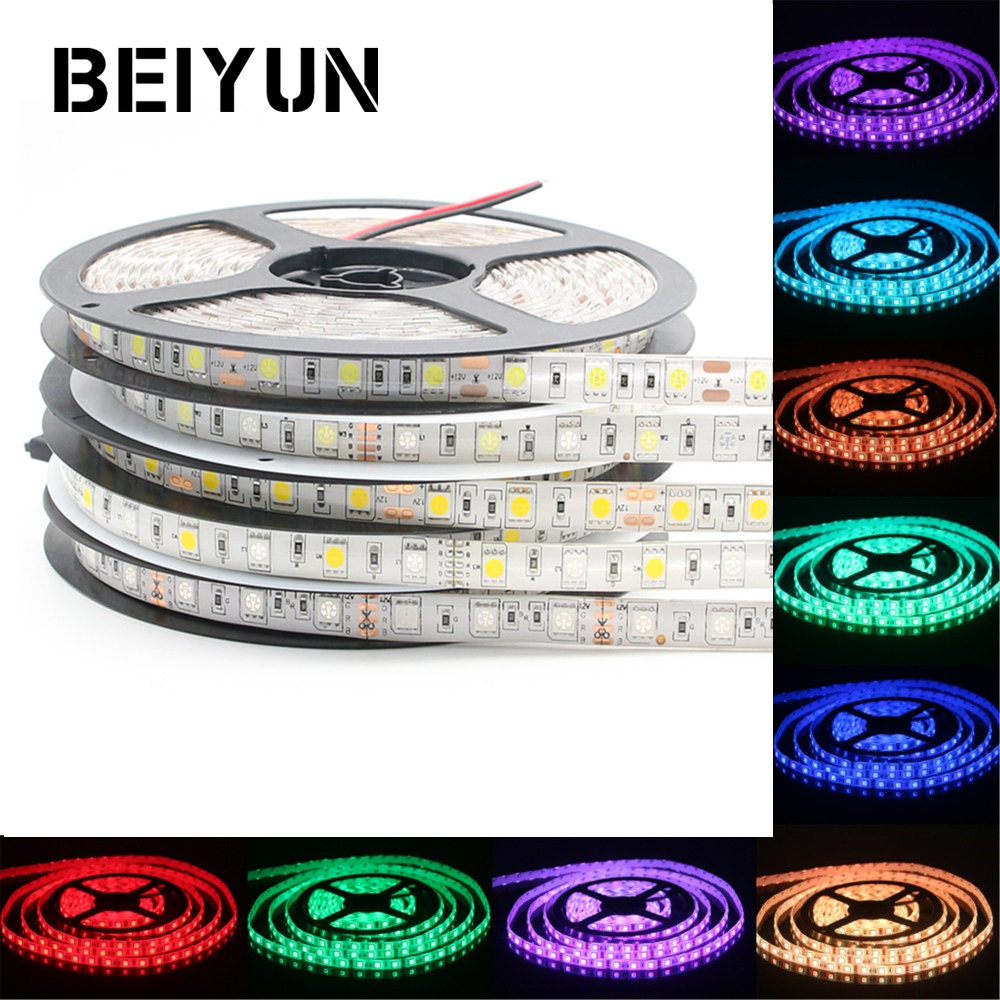 BEIYUN SMD 5050 RGB LED Strip 5M 300LED Not Waterproof DC 12V LED Light Strips Flexible Neon Tape Luz White / Warm White / RGB шлепанцы crocs шлепанцы