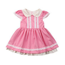 Infant Baby Smocking Doll Princess Cotton Plaid Dress Newborn Toddler Girl Pink Lace Smocked Wedding Party Dresses