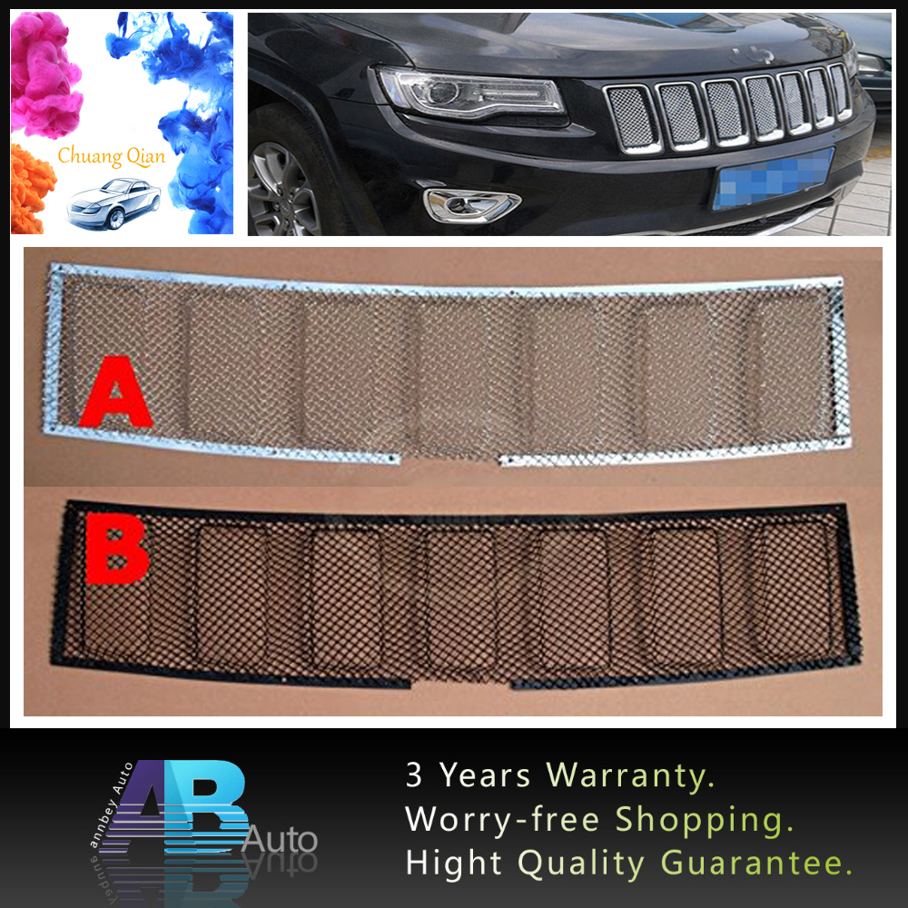 1 X Metal 3D Mesh Front Bug Grille Mesh Grill Insert For Jeep Grand Cherokee 2014-2016 Auto Car Accessories Black/Silver цена