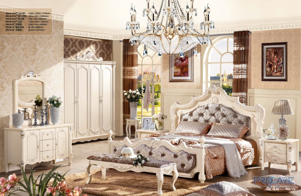 Luxury French Fancy Antique Design Solid Wood Fabric Bedroom Furniture Set With 4 Doors Bureau Night Table Dresser Bed End Stool