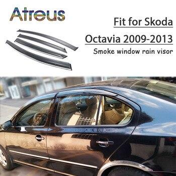 Atreus 1set ABS Rain Smoke Window Visor Car Wind Deflector For Skoda Octavia 2009 2010 2011 2012 2013 Accessories