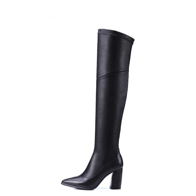 Sur Élégant Noir En Bottes Véritable Solide Sexy Glissière D'hiver Femmes Pointu Genou Memunia Latérale Le Cuir Simple Chaussures Bout Chaud zZwH1nqxtY
