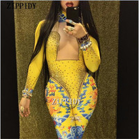 Sexy Yellow Chinese Dragon Printed Glisten Stones Rhinestone Jumpsuit Female Singer Stage Wear One piece Stretch Costume Outfit