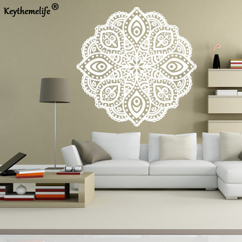 Keythemelife Mandala Wall Stickers Indian Buddhist Art Wall Sticker DIY Wallpaper Art Decor Mural Room Home Decal B