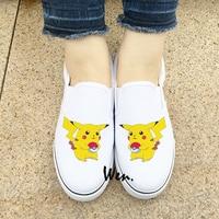 Wen Design Anime White Black Slip On Shoes For Men Women Pokemon Pikachu Canvas Sneakers Boys