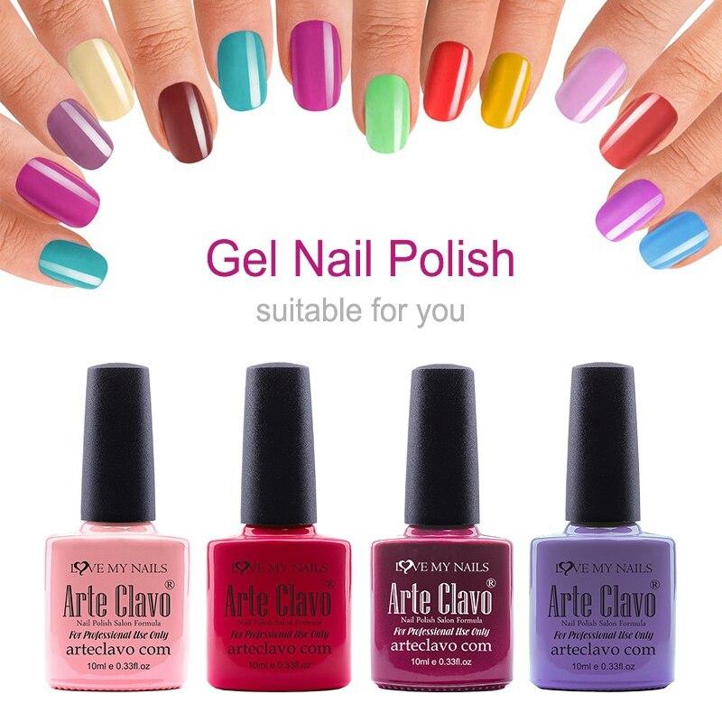Arte Clavo 10ml Newest Choose Any 1 Color Manicure LED Light UV Gel Nail Paint Polish Lacquer Soak Off UV Led Nail Gel Polish