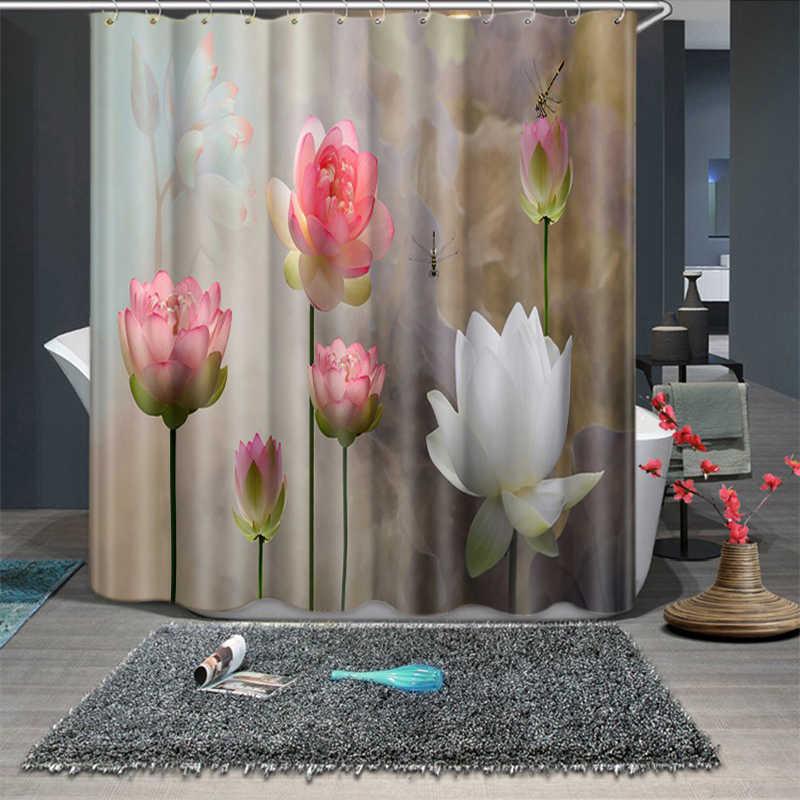 3d نبات اللوتس الأزرق والأبيض الخزف نمط دش ستائر الحمام الستار ثخن للماء سميكة ستارة حمام