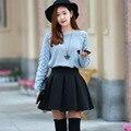 De alta Qualidade Da Moda Outono Inverno Plus Size Saia de Cintura Alta Espaço Algodão Tutu Saias Curtas elásticas Manter Preto Vermelho Das Mulheres saias