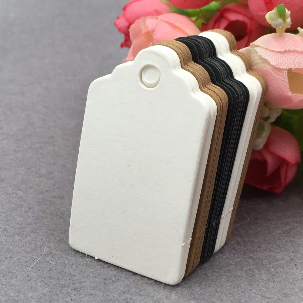 200pcs 5*3cm Brown Kraft Paper Gift Tag Lace Scallop Head Label Luggage Wedding Note Blank price Hang tags Kraft Gift Hang tag