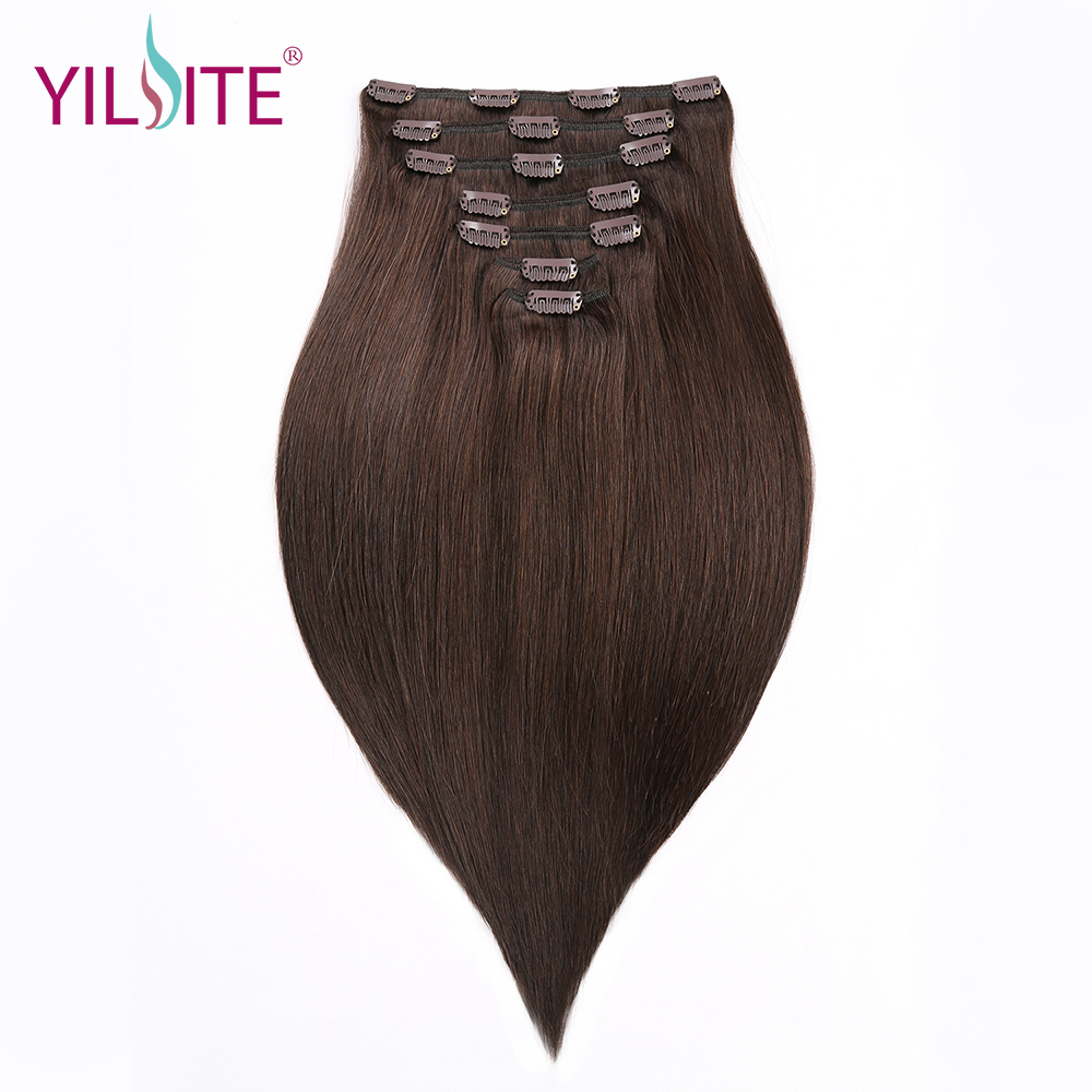 YILITE Straight Clip In Human Hair Extensions 16inch Double Drawn European Remy Hair Clip-In Extensions 7pieces Free Shipping