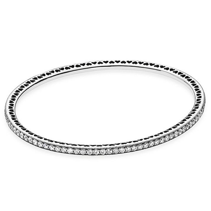 New 925 Sterling Silver Bangle Pave Twinkling Forever & Love Heart With Crystal Bracelet Bangle Fit Women Bead Charm DIY Jewelry
