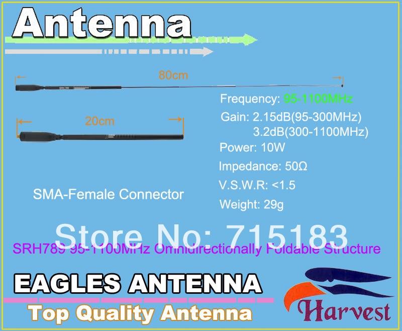 SMA-F Harvest SRH789 95-1100MHz Foldable Structure Telescopic Antenna 2.15dB(95-300MHz)/3.2dB(300-1100MHz)SMA-F Harvest SRH789 95-1100MHz Foldable Structure Telescopic Antenna 2.15dB(95-300MHz)/3.2dB(300-1100MHz)