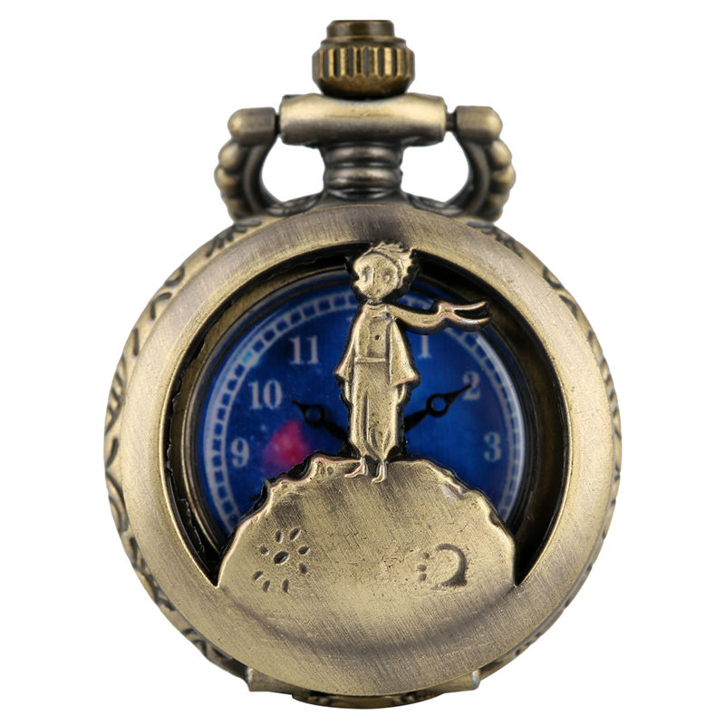 Vintage Bronze Necklace Chain Pocket Watches Hollow-out Dial For Boy Little Prince Pendant Köstekli Saat Piccolo Principe