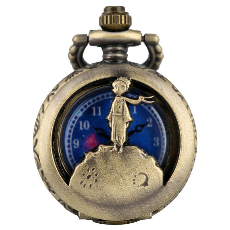 Vintage Bronze Necklace Chain Pocket Watches Hollow-out Dial For Boy Little Prince Pendant Köstekli Saat Piccolo Principe