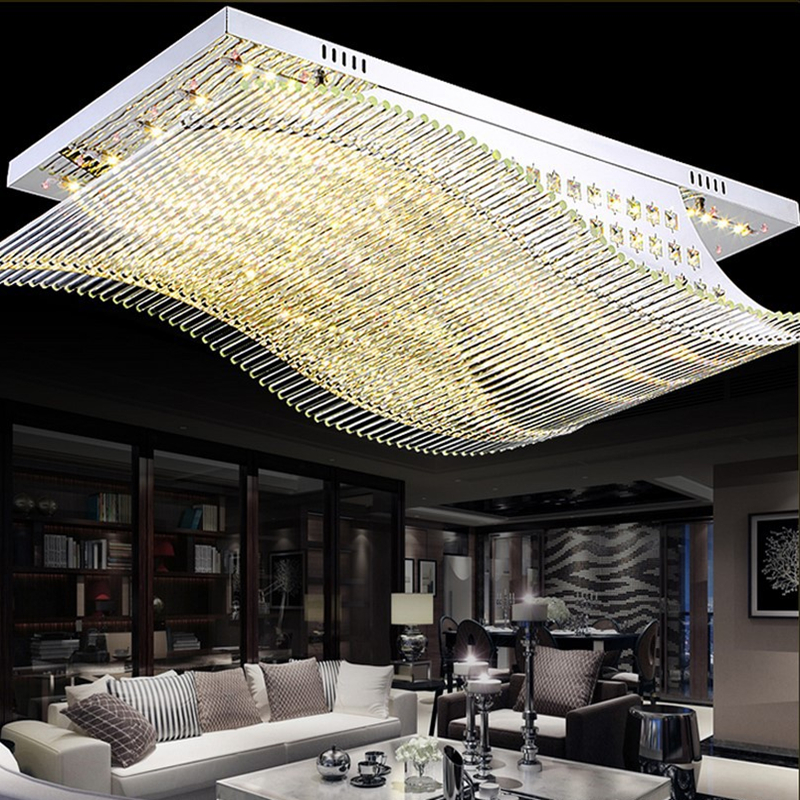 Modern Remote Control LED K9 Crystal Chandelier Lights For Livingroom Bedroom Lighting Stainless Smooth Sailing Ceiling Fixtures in Chandeliers from Lights Lighting