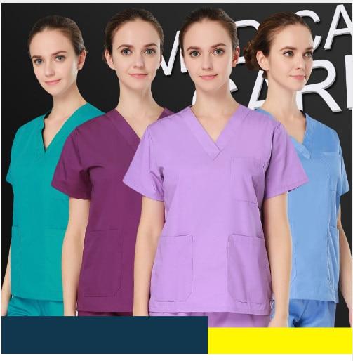 Plus Size High Qualit Women's V Neck Medical SetS Summer Men Short Sleeve Nurse Uniform Hospital Clothes Surgical Scrub Sets