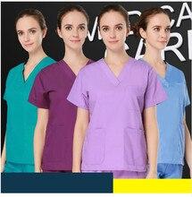 Большие размеры высококачественным женщин V шеи Médicos комплекты летние мужские с коротким рукавом медсестра равномерной больницы одежда Хирургическая Скраб комплекты