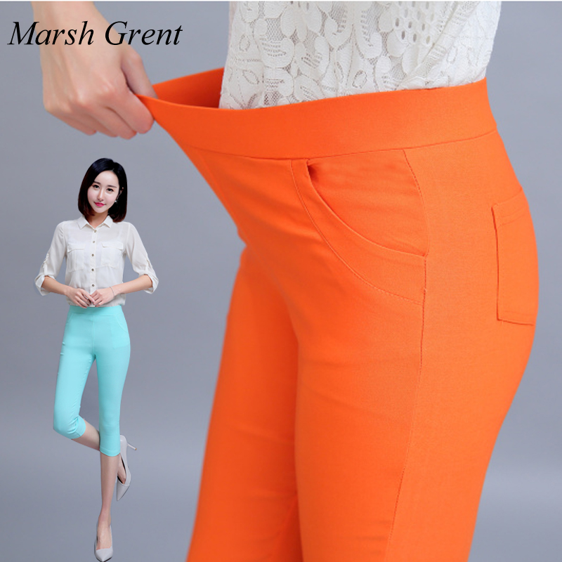 Summer Women's Candy Color Elastic High Waist Capris Pants Casual All-match Skinny Pencil Pants  Comfortable Plus Size