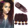 Mink Brazilian Kinky Curly Virgin Hair With Closure 99J Red Human Hair Bundles With Lace Closures 4 Bundles Deals With Closure