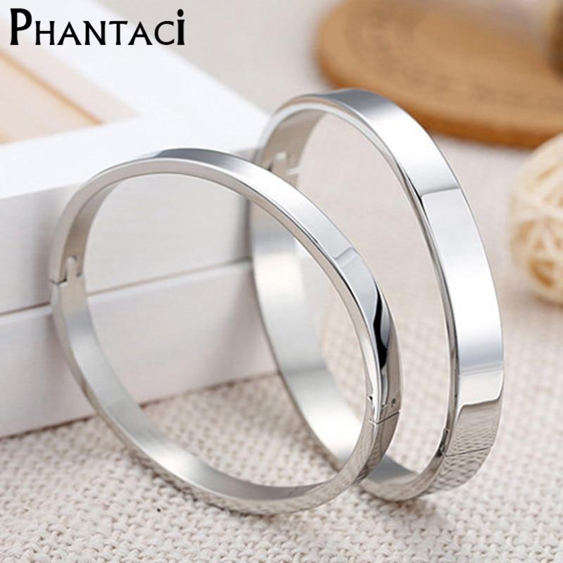 Mewah Kekasih Cuff Bracelet & Bangles Top Warna Silver Merek Pasangan Sederhana Glaze Buckle Love Charm Gelang Untuk Wanita Atau Pria