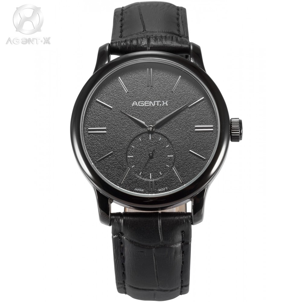 ФОТО AGENTX Black Steel Case Leather Band Relogio Small Second Hand Dial Analog Male Casual Business Clock Quartz Mens Watch /AGX080