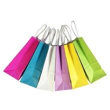 50PCS DIY משולב רך צבע שקית נייר עם ידיות 21x15x8cm פסטיבל מתנת תיק גבוהה איכות קניות שקיות קראפט נייר