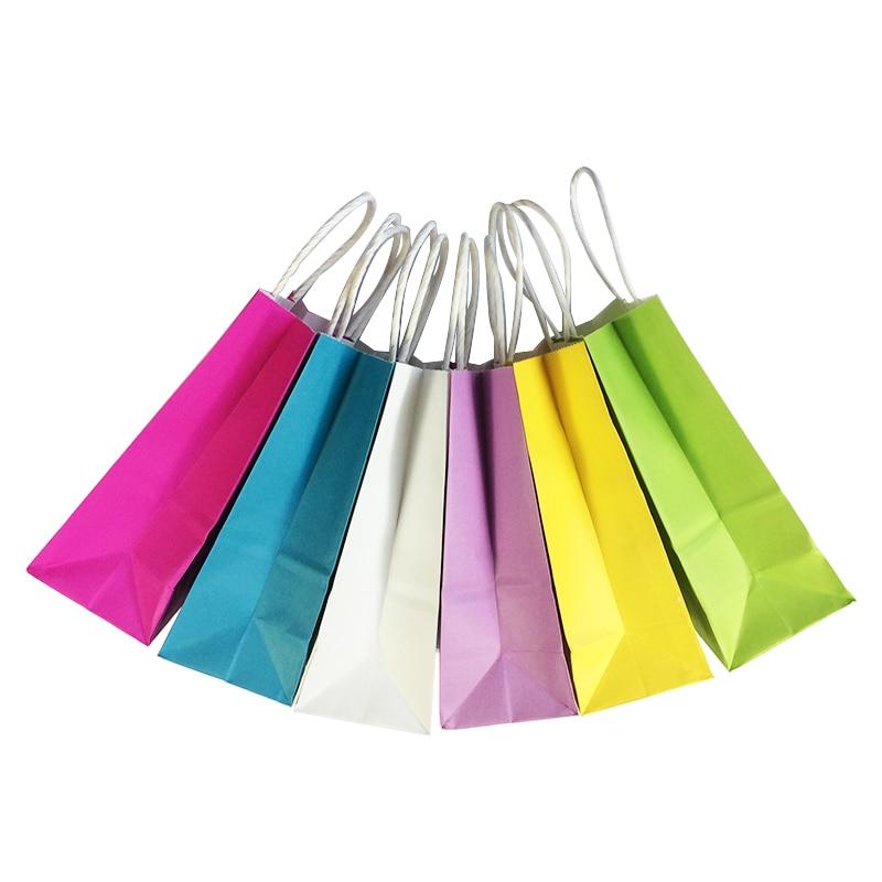 50pcs Diy Multifunction Soft Color Paper Bag With Handles