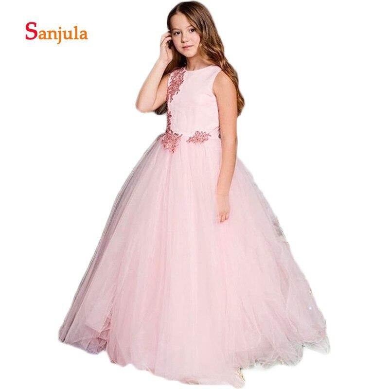 Pink Tulle Sweet   Flower     Girls     Dresses   2019 Scoop A-Line Appliques   Girls   Pageant Party   Dresses   vestido de festa infantil D436