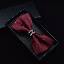Tuxedo Metal Crystal Wedding Bow Tie Men Women Butterfly Knot Cravat with Black Purple Blue Jujube Red Colors for Groom Party Banquet Meeting Club