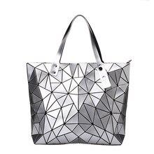 Novo bolsas de luxo bolsas femininas designer praia grande tote holograma bolsa ombro saco sac a principal geométrica bolsa feminina prata
