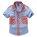 toddler boy cotton 100% plaid  shirt short sleeve with cute floral fabric 15S03A