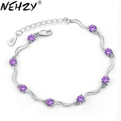 925 sterling silver new bracelet four feet eight female models crystal bracelet cute fashion wild retro jewelry super flash
