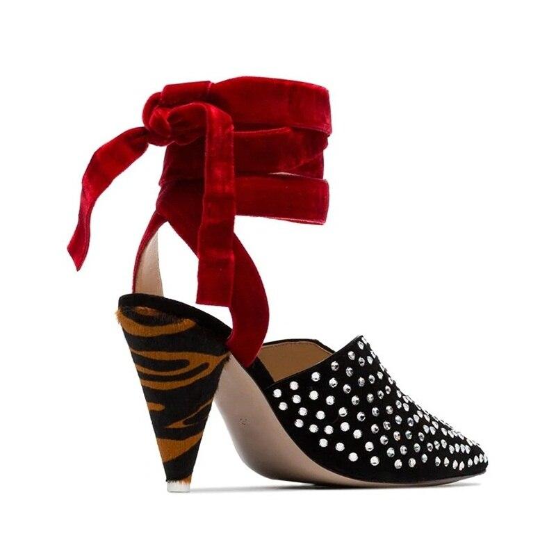 Mula Moda Negros Puntiagudo Fiesta Genuino Tacones Black Pie Dedo Señoras Zapatos Sexy Bombas Las Cuero Mujeres Sandalias De Altos Del AZq1R1