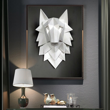Художественная статуя ручной работы из смолы, 3D абстрактная голова волка, украшение, аксессуары, скульптура, Свадебный Рождественский Декор для стен, ремесло