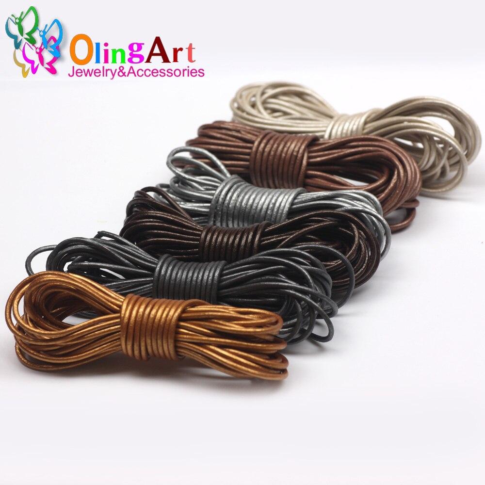 OlingArt Cuerdas De Cuero 2mm 5 M Craft Ronda perlas de perlas Genuinas Cable/cu
