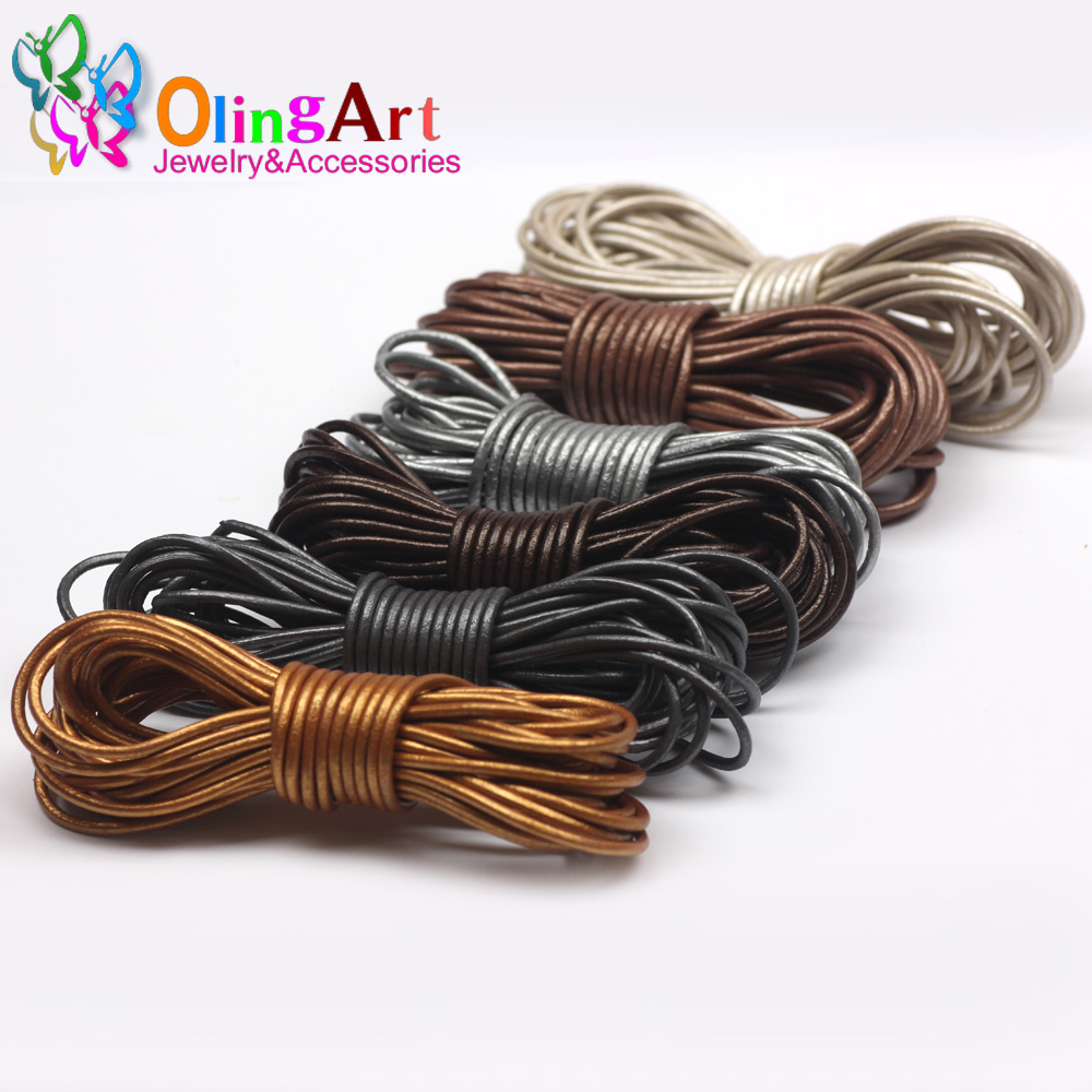 OlingArt Leather Cords 2mm 5M Craft Round pearl Genuine pearls Cord/rope/Wire/string DIY Bracelet choker necklace Jewelry making artificial leather rope round collarbone necklace