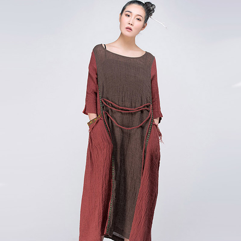 a379153da3e1 Jiqiuguer Women Patchwork Long Linen Dresses Vintage Plus Size O neck Big  Pockets Lace up Loose Casual Summer Vestidos G152Y015-in Dresses from  Women's ...