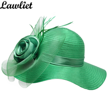 Solid Satin Feather Floral Wide Brim Sun Hat