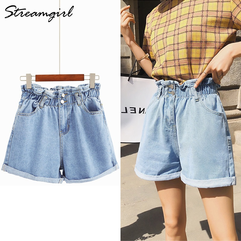 Streamgirl Women High Waist   Shorts   Jeans Cotton Elastic Waist Loose   Short   Jeans Wide Leg White Jean   Shorts   Women Summer Vintage