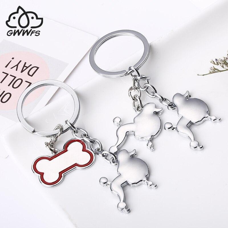 2019 Creative Poodle Keychain Custom Dog Lover Key Chain Keys Custom Cute Dog Fashion Key Ring Dog Key Chain DIY Metal Keychain