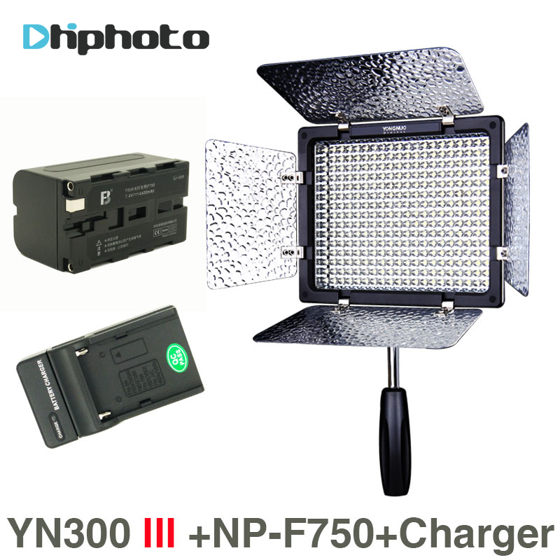 YONGNUO YN300 III 5500K 300 LED Light On Camera Lighting for Wedding , YN300III LED Panel Light with NP-F750 battery Charger